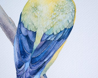 This is an ORIGINAL watercolor PAINTING of a yellow bird.