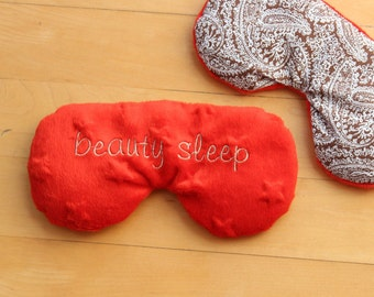 Flax Eye Pillow, Custom Eye Mask, Rice Pillow, natural heat pad,Migraine,Stress Relief, cold pack, gift for Mom, Mother's Day gift, red