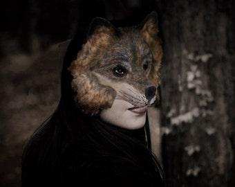 Wolf Mask Paper mache Lykos -Wolf Mask Papier mache Wolf head mask animal mask Wolf Papier mache Adult mask