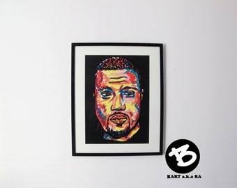 Kanye West , hip hop portrait, A3 hip hop Poster on matte paper 250gsm. Original print by BARTakaBA.  gifts for rap fans rap art hip hop art