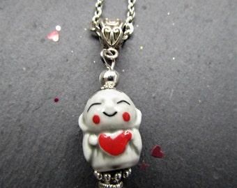Ojizo-sama necklace, Jizo necklace, Japanese necklace, Jizo jewelry, Japanese Buddhism, Jizo, Ojizo-sama, cute necklace, Japanese deity