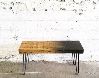 GROGG Ombre Bench | Reclaimed Wood Bench Steel Legs Bench White Ombre Wood Black Ombre Bench Hairpin Legs Bench