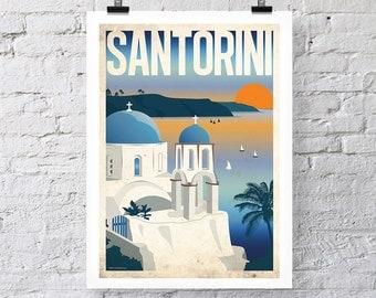 Vintage Travel Print: Santorini Wall Art