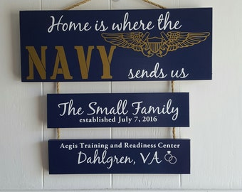 Home is where the Navy sends.. single anchor Naval Flight Officer, NFO Wings, Military Family, Patriotic Wall Décor