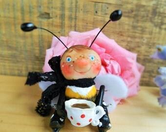 bee polymer clay articulated bee ooak doll bumblebee figurine