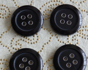 Large Vintage look buttons black used nr 1, black buttons 25 mm, vintage buttons 25mm, black buttons large