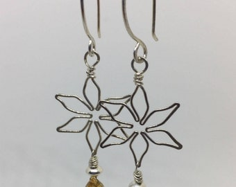 Sterling silver flower earrings with citrine drops
