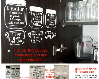 SALE! Baking Measurement equivalents Vinyl Wall Decal Sticker, Baking measuring cups & spoons decal,  Kitchen cabinet measurement conversion