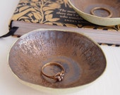 Handmade small gold/black ceramic ring dish, pottery ring dish, ceramic ring dish, gold dish, catchall, unique ring holder,gold ring display