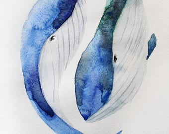 Whale watercolor original, Whale original art, Fish Art, wall decor, whale art, gift for her, whale watercolor, fine art, wall art, art OOAK