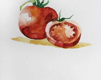 Original watercolor painting, Two Red Tomatoes, Vegetables watercolor, Two Tomatoes Art, Kitchen decor, gift for her, original art, ART OOAK