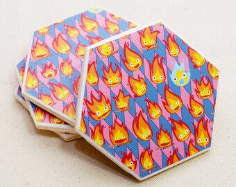 Calcifer Hexagon Coaster | Single Coaster | Ghibli Ceramic Tile Coaster | Geeky Housewarming Gift | Howl's Moving Castle Calcifer Gift Idea