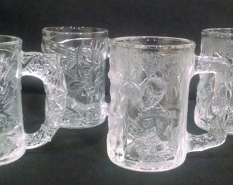 McDonald's Batman Forever Mugs 1995 - Two Batman Mugs and Two Robin Mugs - Batman Collectible Glass Mugs - Set of Four - Vintage Glassware