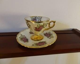 Vintage Lusterware Dainty Pedestal Teacup and Saucer, Purple Violet Lavender Flowers Teacup and Saucer, Gold Trimmed