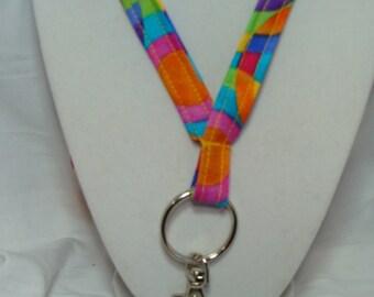 Lanyard with Rainbow Swirls