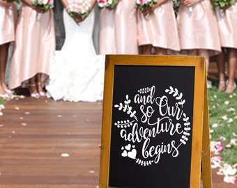 And So Our Adventure Begins - Chalkboard Decals - Wedding Decor - Adventure Begins - Our Adventure Begins - Wedding Gift -Wedding Sign - USA