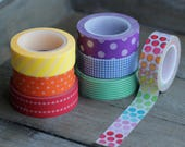 Rainbow Washi Tape Set - 7 Rolls: Ombre Dot - Red Vertical Dot - Orange Dot - Yellow Stripes - Green Stripe - Blue Grid - Purple Med Dot Set