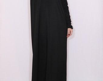 Black maxi dress Loose fit dress Women maxi dress with sleeves