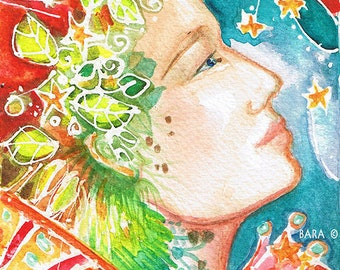 "Goddess series ""Celestial Goddess""  Art Print of original watercolor"