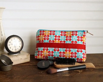 Large Gusset Make Up Bag -  Red and Aqua Retro Vintage Print Cosmetic Bag with Red Ribbon Trim,  Large Zipper Bag, Holds alot of make up