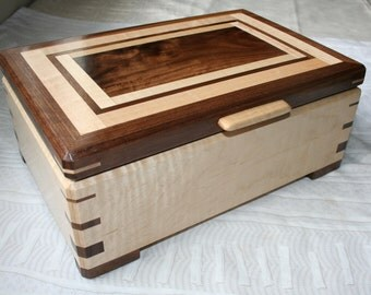 Wood Jewelry Box, Wooden Jewelry Box, Keepsake box, Jewelry Storage box,2SKM