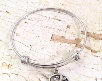 Good Luck Bracelet, charm bracelet, Lucky Charm bracelet, Graduation Bracelet, Wishbone charm, Four leaf clover charm, adjustable bangle