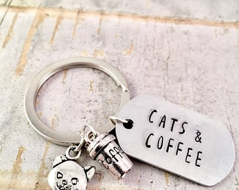 Cats and Coffee keyring, But First...Coffee, Coffee cup Keyring, planner keychain, backpack charm, Kitschy, Geekery, Cat charm keychain