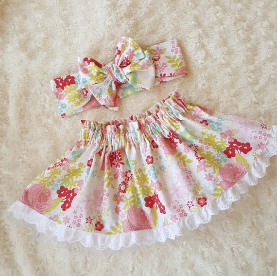 Spring Floral- baby skirt -toddler skirt- Headwrap- head band-Bloomers