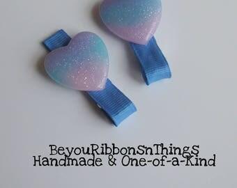 Pastel Hearts | Hair Clips for Girls | Toddler Barrette | Kids Hair Accessories | Blue Grosgrain Ribbon | Cabochon | No Slip Grip