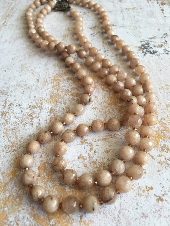 Sand Jade Crystal Wrap Necklace