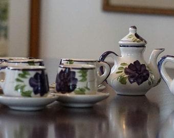 Vintage Blue Ridge Child's Tea Set/ Blue Ridge Style/ 15 Pieces