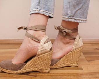 Leather Espadrilles Beige Sandals Wedges Beach Shoes Eu 38 UK 5 US 7 1/2