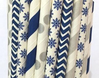 2.85 US Shipping -Winter Paper Straws - Silver/Blue straws - Cake Pop Sticks - Drinking Straws