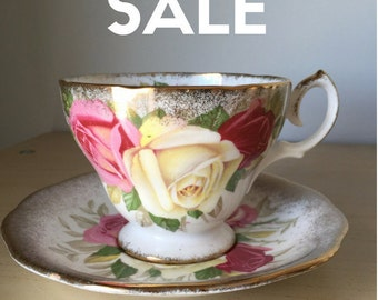 """ON SALE! Queen Anne """"Lady Sylvia"""" Vintage Teacup and Saucer, Pink White Red Rose Tea Cup & Saucer, English Floral Bone China, Heavy Gold"""