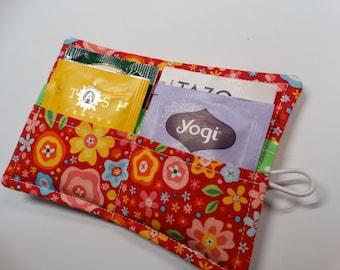 Tea Wallet - Tea Pouch - Tea Travel Bag - Tea Purse - Purse Accessory - Padded - Floral - White - Red
