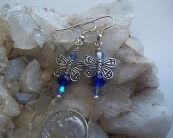 Blue Dangle Butterfly Earrings