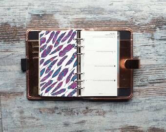 Violet Feathers Dashboard, Dashboard Planner, Dashboard, Personal Planner Dashboard, Filofax Personal size, kikki K Medium