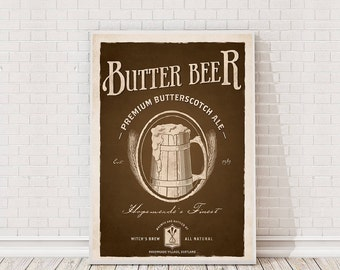 Harry Potter Butter Beer Retro Poster Art Film Poster Movie Poster