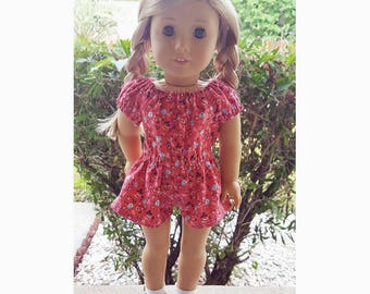 18 inch doll clothes - Red floral Peasant Romper