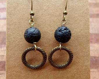 Aromatherapy earrings, essential oil diffuser earrings, lava bead earrings