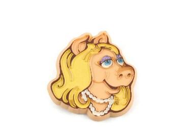 1979 Miss Piggy 3D Button Vintage