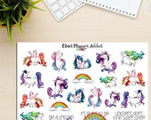 Fabulous Unicorns Planner Stickers Hand Drawn (S-180)