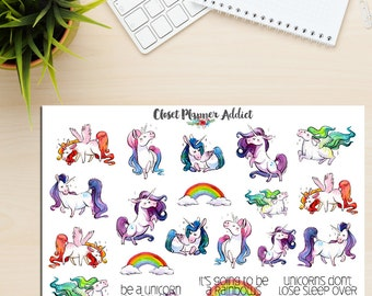 Fabulous Unicorns Planner Stickers | Hand Drawn Stickers | Cute Unicorns | Illustrations | Unicorn Stickers (S-180)