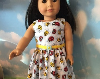 """Bumble Bee and Lady Bug Dress for 18"""" Dolls like American Girl Dolls"""