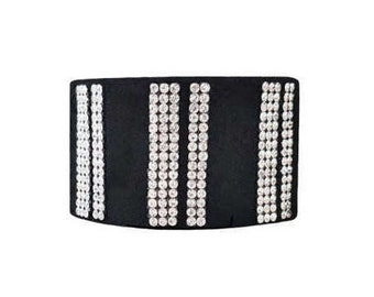 Black Suede and Diamante Cuff Bracelet - 'Track'
