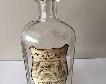 Antique heroin  bottle. Contained  a cough syrup with added heroin.  Very rare Wyeth pharmacy bottle.