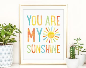 You Are My Sunshine, Kids Nursery Art, Playroom Print, Yellow Decor, Boys Nursery Art, Kids Bathroom, Typography Quote, PRINTABLE WALL ART