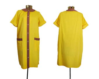 Vintage Muu Muu Yellow Dress Collar Dress Button Down Dress House Dress Cotton Dress Casual Dress Comfy Dress 60s Muu Muu 1960s Dress