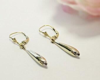 14k gold drop earrings, 14k white gold earrings, 14k earrings, cluster earrings, drop earrings, dangle earrings, gold earrings,gold jewelry