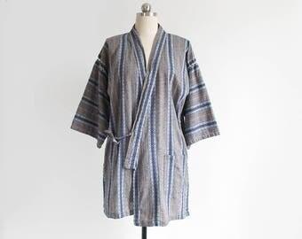 vintage kimono top / short sleeve haori kimono jacket / blue & grey / womens L